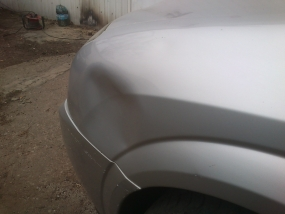 Opel Vectra lewy błotnik stłuczka parkingowa Bezlakierowo.pl - bzlakierowe usuwanie wgniecen w karoserii samochodowej
